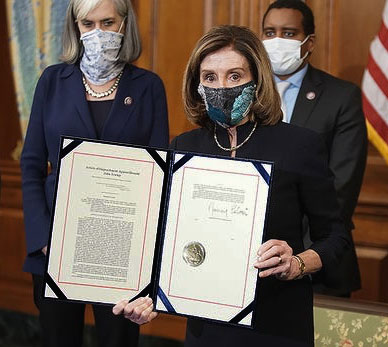 Article of impeachment, being held by a masked Nancy Pelosi