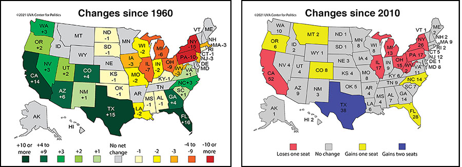 Census maps showing changes since 1960 and since 2010