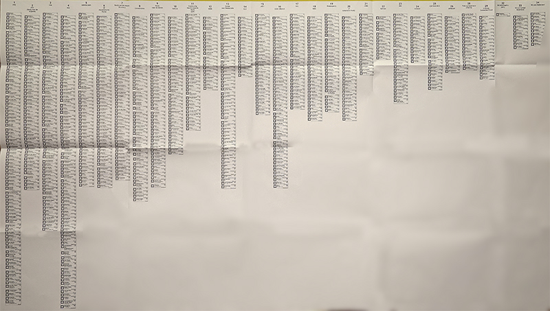 Dutch election ballot; it lists hundreds of names in 27 different columns of various lengths, some of them with only a few names and some with dozens of names
