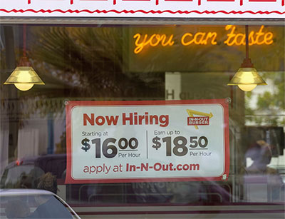 Sign advertising $16/hour wage at In-N-Out Burger