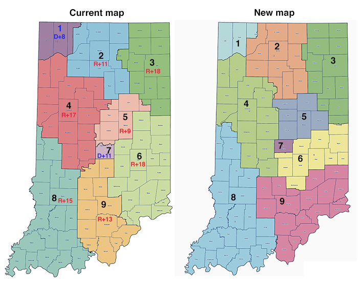 Old and new Indiana CD maps; the current map has a bunch of Republican districts that are R+8 or greater and two Democratic districts, one in the center where Indianapolis is and one in the northwest corner close to Chicago, that are D+8 or greater. The new map doesn't have labels of how partisan the districts are, but the districts are largely the same shape and in the same locations, excepting IN-06 and IN-09, which have gone from splitting the southeast corner of the state on an east-west axis to splitting the southeast corner on a north-south axis.