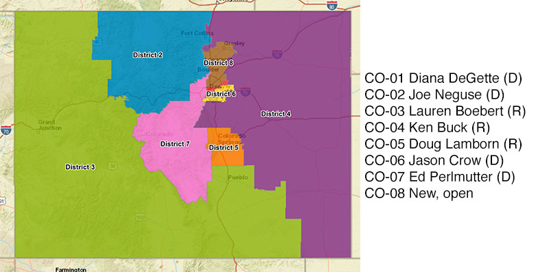 Map of Colorado congressional districts, the text below literally covers everything the map does, excepting that the map is garishly colored with different bright pastel-like colors