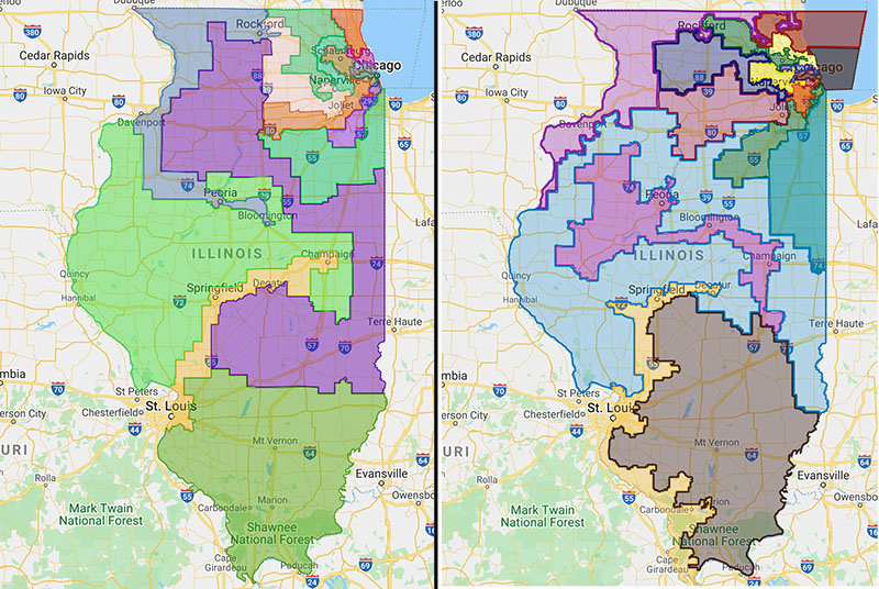 Proposed district maps for Illinois; the new one has a lot of those 'Goofy kicking Donald Duck'-type districts.
