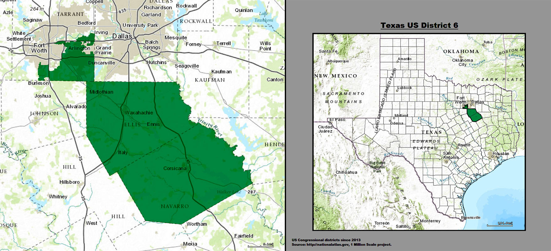 TX-06; a small triangle in the northwest barely touches the corner of a larger rectangle to the southeast