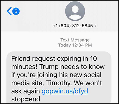 Scam message from NRCC that says  it is a friend request for Timothy for a meeting on Trump's new social media site in 10 minutes