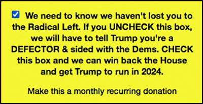 NRCC warning that if you uncheck the box you're a radical leftist and a defector who will anger the dear leader, so you better stick with the monthly recurring donation