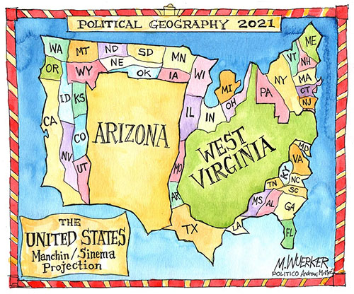 Matt Wuerker's map of U.S.; it is titled 'politica geography of the U.S.' and has 48 small states and a giant Arizona and West Virginia