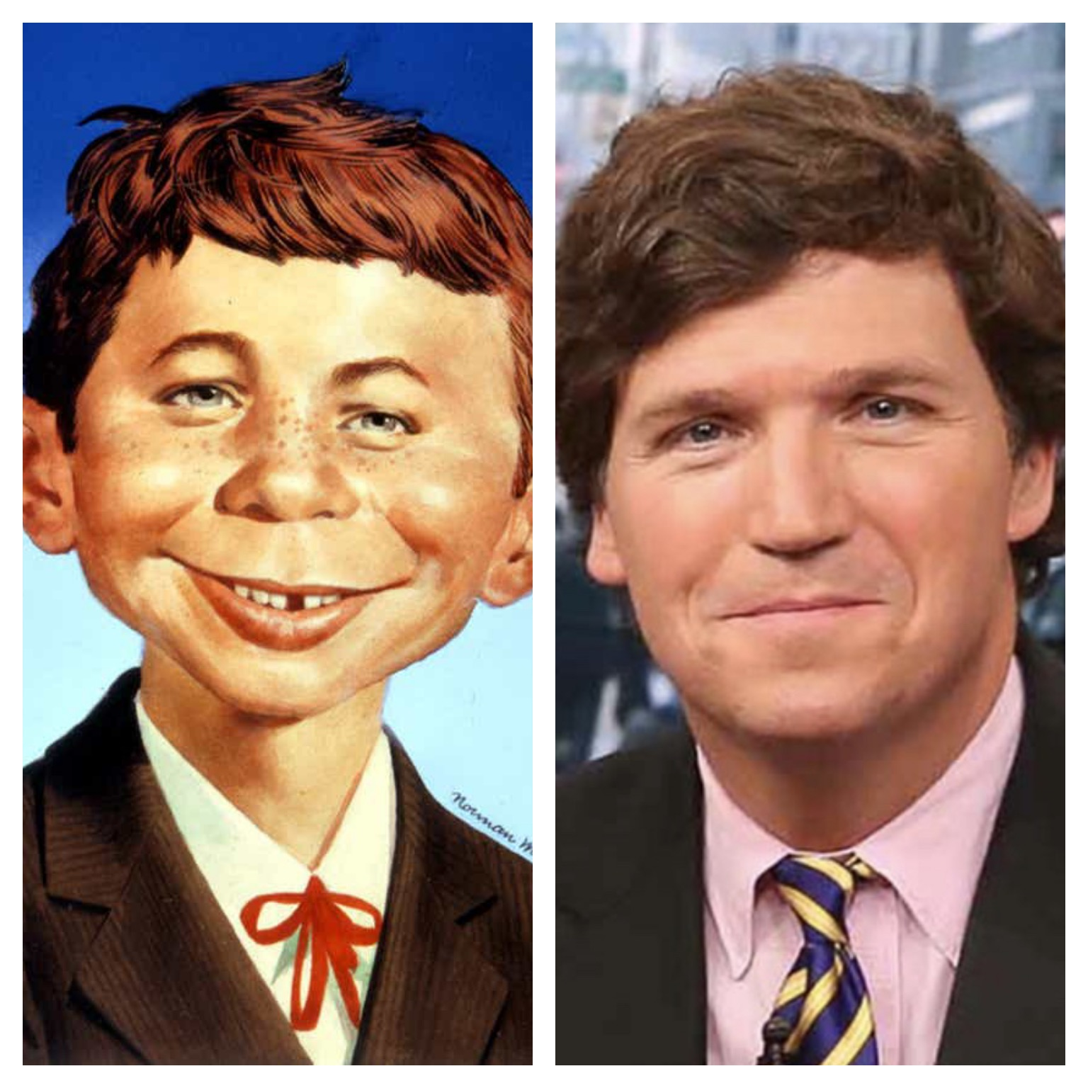 Alfred E. Neuman of MAD Magazine and Tucker Carlson