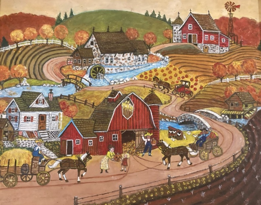 A rural scene with several  farmhouses, a well-traveled dirt road, and several horse-drawn carts loaded with hay