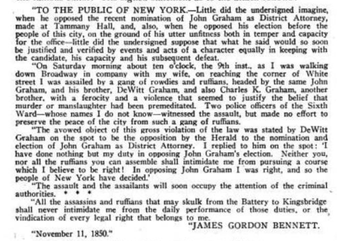 The four-paragraph news story reveals the name of the assailants, explains the attack took place on Broadway, lambastes the assailants, and assures  readers that they will be criminally prosecuted.
