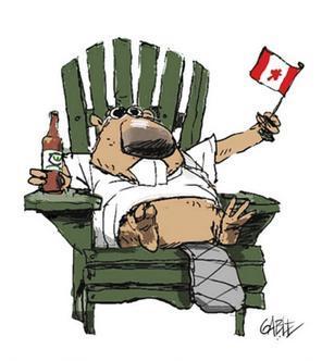 A cartoon of a beaver in a chair