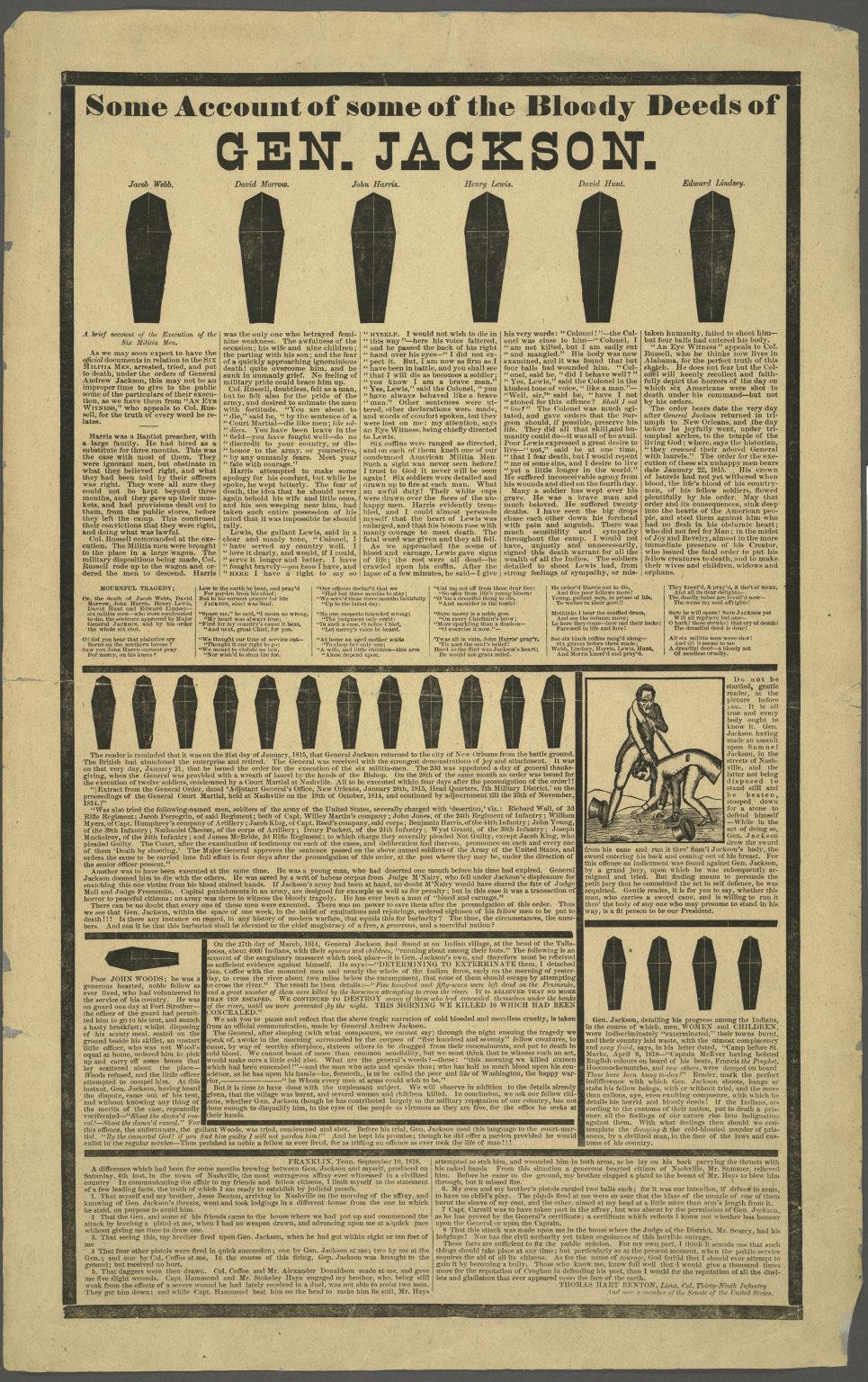 A poster-sized piece of paper that has about 2,000 words on it summarizing all the people Jackson supposedly killed, each of them represented by a black coffin.