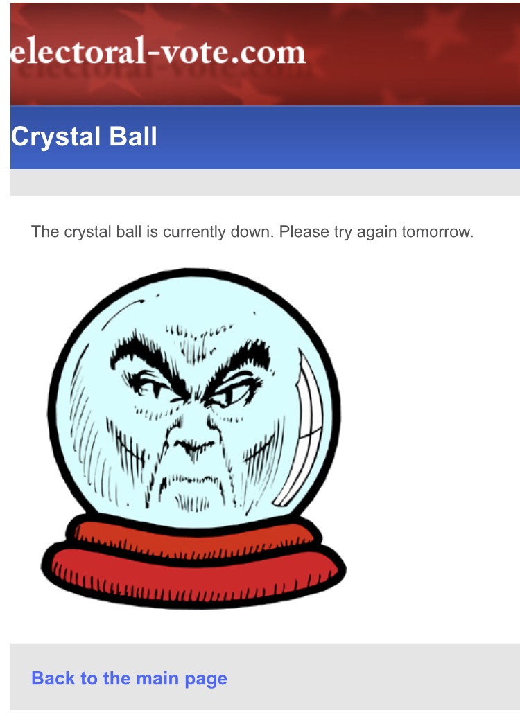 A screen capture of the crystal ball that we show if someone tries to visit a day's posting that hasn't been written yet