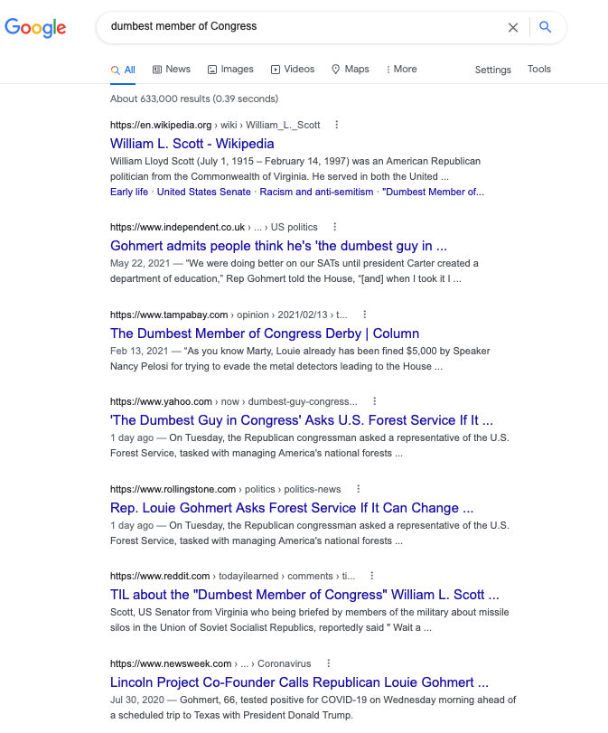 Seven Google results; five of them about Gohmert