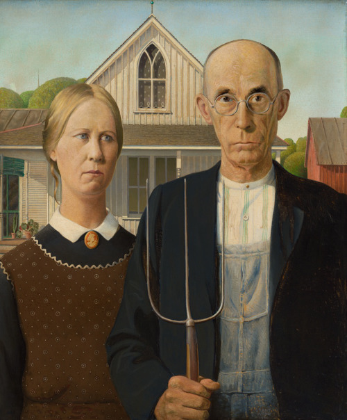American gothic, which shows a bald man and his apparent 'wife' in a pastoral farm scene