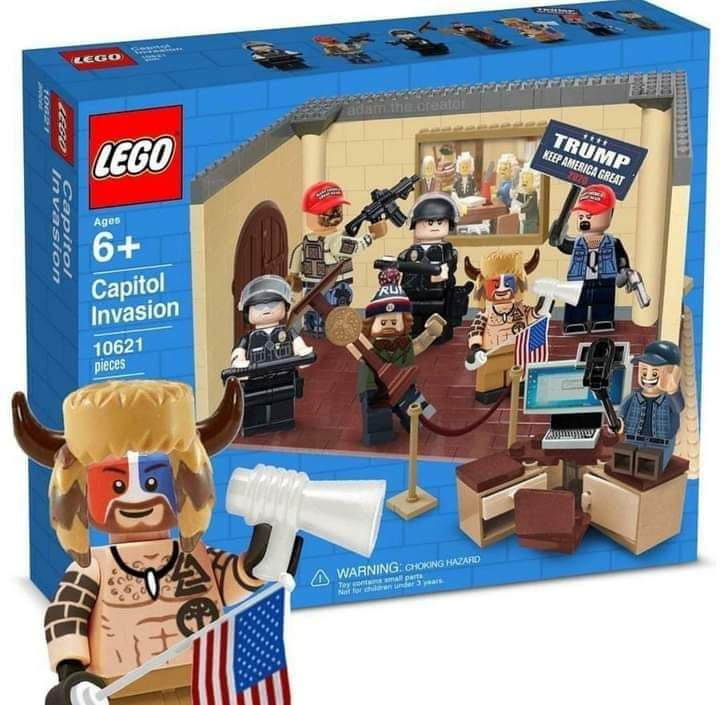 Someone has Photoshopped a LEGO set that  includes all of the key figures of the insurrection, most obviously the man in the bear fur and viking horn headwear that posed for pictures on the Speaker's podium