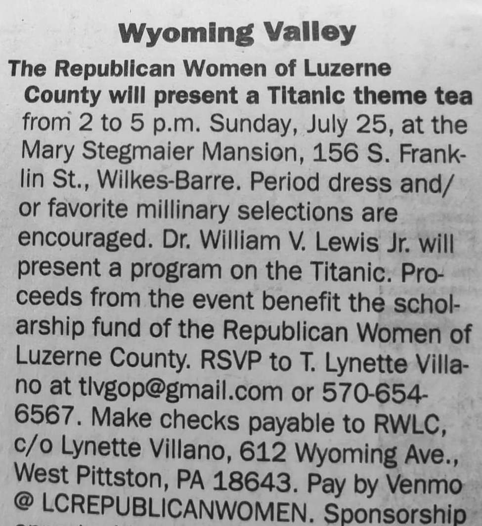 An announcement of a Republican gathering that will be Titanic themed, wherein attendees are asked to wear period-apropos clothing