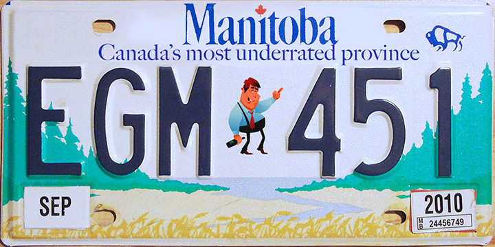 The plate describes Manitoba as  'Canada's most underrated province'