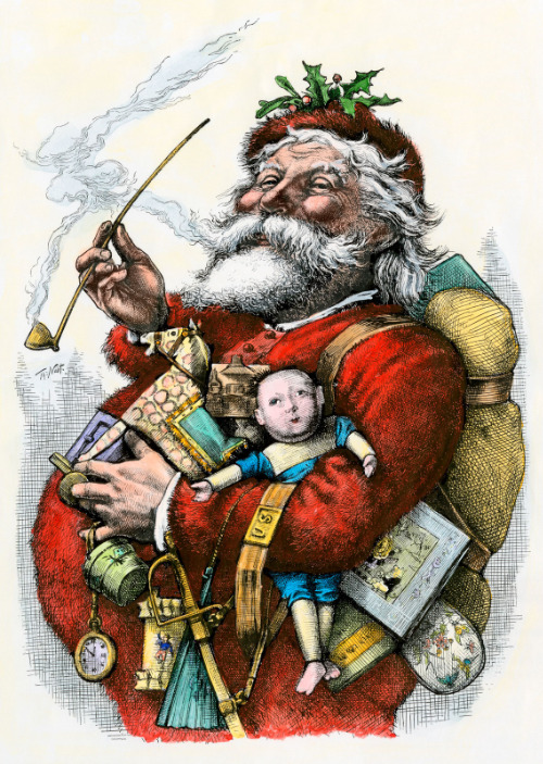 Santa Claus, with the rosy cheeks, white beard, red suit, and jelly belly