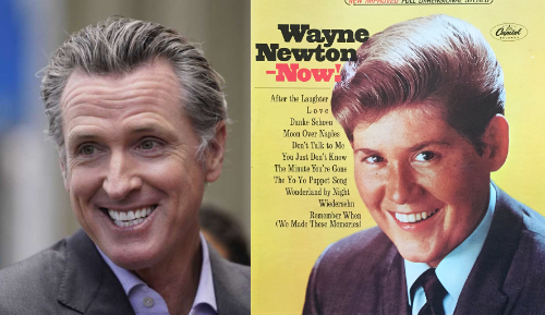 Newsom and Newton both have slicked-back hair and phony-looking smiles