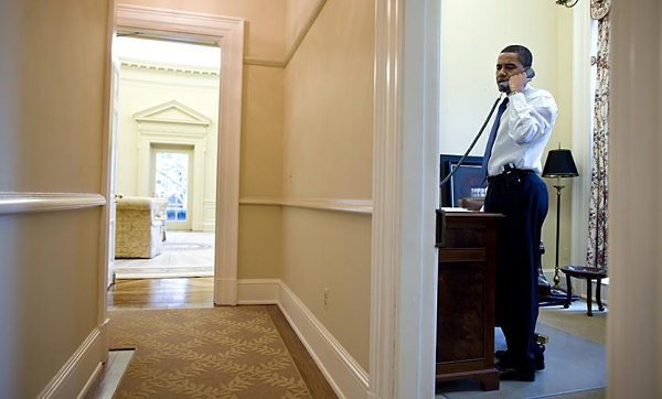 The room is fairly small, but brightly lit, and is clearly better set up for office work than the Oval Office, by virtue of being fairly private