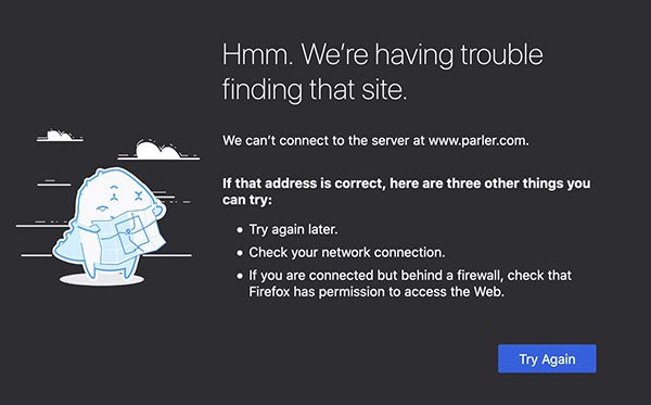 Error message when trying to access parler.com