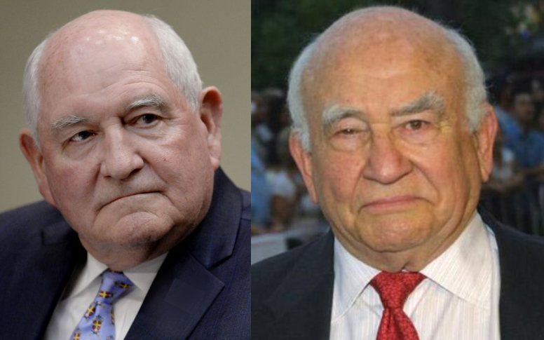 Sonny Perdue on the left, Ed Asner on the right; both are bald men with very round faces and narrow eyes