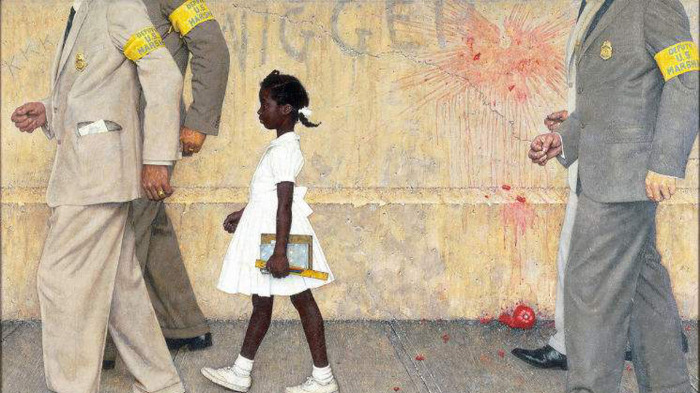 A young Black girl is escorted to school by  four adults; the word 'nigger' is scrawled on the wall behind her