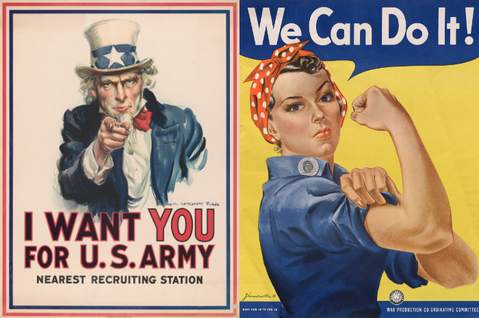 WWI 'Uncle Sam wants you' poster and WWII 'Rosie the  Riveter' poster