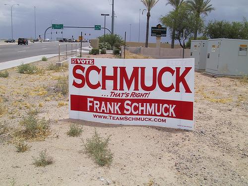 A sign for political candidate Frank Schmuck