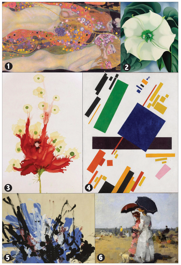 Painting 1 shows two women who look to be floating horizontally, with long hair decorated with lots of small flowers; painting 2 shows a single white flower and its leaves, it looks like a pansy or a nasturtium; painting 3 is also a flower, but is a bit more abstract, it shows the stem, and a splash of red that looks like a rose that has been driven over by a car along with a dozen or so white splashes with green centers; painting 4 is a collection of two dozen rectangles and squares and trapezoids of various sizes and colors, most are set at about a 60-degree angle; painting 5 is an abstract melange of paint splashes, mostly white, black, and periwinkle, with a bit of red; painting 6 has an impressionist appearance, and shows two women in Victorian clothing and holding umbrellas to protect themselves from the sun; it's somewhat reminiscent of 'A Sunday Afternoon on the Island of La Grande Jatte' by Georges Surrat.