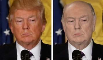 Trump with a bald head and normal skin color; he definitely looks better