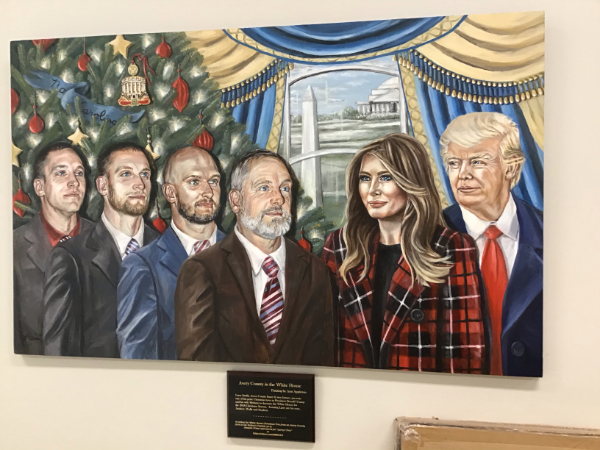 The same godawful painting of Trump, where he looks nothing like himself.