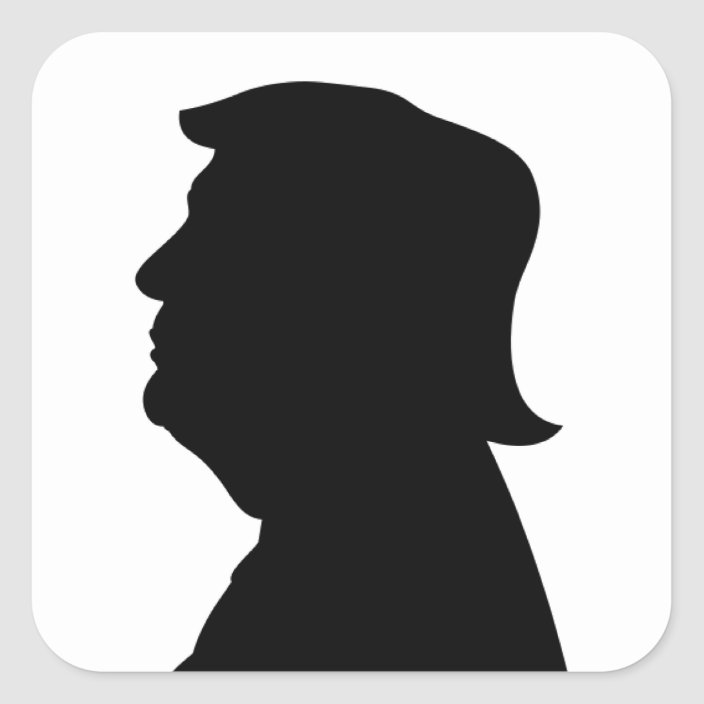 Trump silhouette, from the side, looking to the left