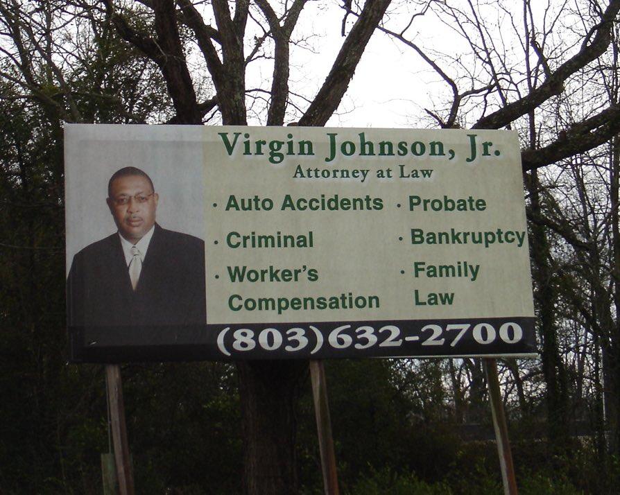 A billboard for an attorney named Virgin Johnson Jr.